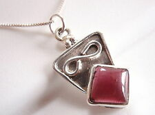 Red Garnet Infinity Necklace 925 Sterling Silver