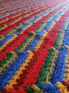 """Afghan Vintage Crocheted Diagonal THROW/BLANKET~ Colors of Rainbow 60""""X50"""""""