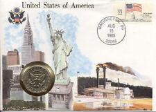 superbe enveloppe ETATS-UNIS USA AMERIQUE pièce monnaie 1/2 $ 1984 UNC NEW timbr