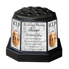 Personalised Dog Memorial Vase Pot. With Photo. For garden, grave etc. Pet Loss
