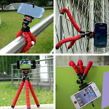 Red Mini Flexible Stand Tripod Mount + Holder For Smart Phone iPhone