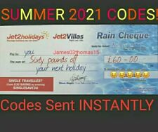 1 × NEW Jet2Holidays £60Rain Cheque voucher 2021 SUMMER HOLIDAYS DATES INCLUDED