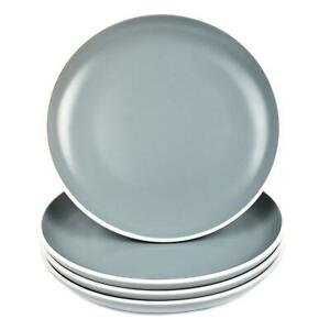 Set of 4 Side Plates Solid Grey Dessert Dinner Round White Rim Stoneware