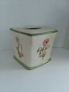CROSCILL Ceramic Tissue Box Cover Holder Pastel Flowers Floral Mint Green Rim ND
