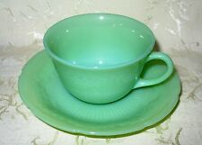 HARD to Find, Jadeite Tea Cup & Saucer, Oven Fire King Ware in the ALICE Pattern