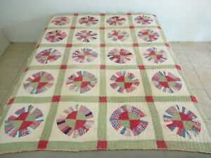 VERY OLD, Well Used, Damaged Feed Sack TRUE LOVERS BUGGY WHEEL. Farm Made Quilt