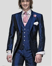 New Navy Blue Mens Wedding Suits Slim Groom Tuxedo Formal Party 3 PC Suit Custom