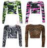 Womens Ladies Long Sleeve Neon CAMOUFLAGE Animal Leopard Print Crop Top Shirt