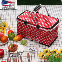 US Picnic Basket Thermal Insulated Lunch Storage Bag Cooler Outdoor Camping Tot