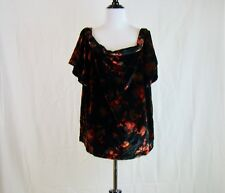 Ann Taylor Loft Women's Black Velvet Fall Floral Off Shoulder Top - NWT - Size L
