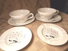 Wedgwood Bone China Wild Oats Pattern 2 cups, 2 saucers, and 2 ash trays