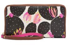 Fossil Ladies Mia Floral Clutch/Wristlet Canvas Wallet Black Multi SWL1711016