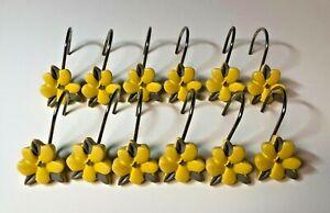 Lot 12 Yellow Daisy Flower Floral Shower Curtain Hooks Rings Stephanie Ryan
