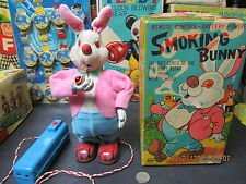 SMOKING BUNNY BATTERY OPERATED IN BOX N MINT SAN JAPAN WORKS 1950s RARE TOY