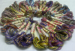 20 Skeins Large Silk Stranded Multi Colored  Glitter Twisted Embroidery Threads
