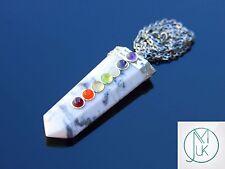 White Howlite 7 Chakra Flat Natural Gemstone Pendant Necklace 50cm Healing Stone