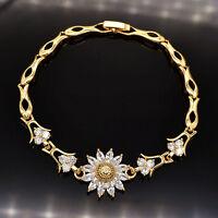 NEW Women Shinning Sun Flower AAA+ CZ Zircon 18K Gold Plated Bracelet Jewelry