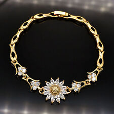 NEW Women Shinning Sun Flower AAA+ CZ Zircon 18K Gold Plated Bracelet Jewelry