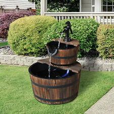 Outsunny Water Fountain Accent Two-Tier Wooden Barrel Outdoor Backyard Decor