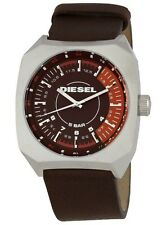 NEW DIESEL SILVER TONE,BROWN LEATHER BAND,COMPASS,5 BAR WATCH-DZ1272