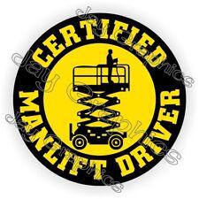Manlift Driver Hard Hat Sticker || Safety Helmet Decal || Harness Scissors Lift