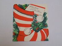 Christmas Greeting Card Old Vintage Wishing Well Red White Stocking Sock Tree US