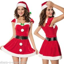 Donna Sexy PONTE il sale Miss Babbo Natale Natale Fancy Dress Costume Outfit