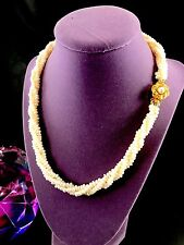 STUNNING 3 STRAND PEARL NECKLACE STERLING VERMEIL FLORAL ROSE CLASP PENDANT