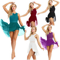 Women Ladies Lyrical Dress Asymmetric Ballet Tutu Dance Costume Leotard Unitards