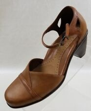Dansko Womens Ankle Strap Closed Toe Heels Tan Leather Shoes Size EU 36 US 5.5
