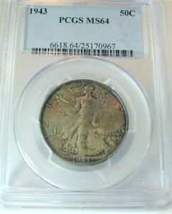 1943 USA Walking Liberty Silver Half Dollar PCGS MS64 Condition Toned  (388)