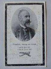 AK Friedrich Herzog von ANHALT Trauerkarte  gelaufen  1904