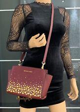Michael Kors Selma Stud Medium Messenger Saffiano Leather Crossbody Bag Merlot