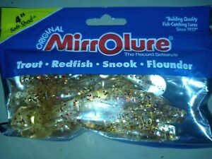 10x MirrOlure 4 Inch Soft Shad Gold Red Glitter Paddle Tail Soft Swim Bait