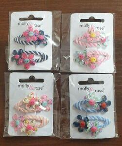 2 Pack Snap hair clips bendies SLEEPIES slides grips Fabric Happy Flower Girls