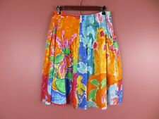 SK10990- RALPH LAUREN Woman Cotton Pleated Flared Skirt Multi-Color Floral Sz 6