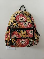Vera Bradley Iconic Campus Backpack Quilted Yellow Pink Flowers