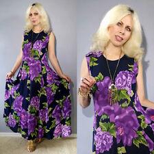 Vtg 80's Sheer India Gauze Floral  Purple Drape Tent Flared Panel Maxi Dress