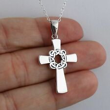 Celtic Knot Cross Necklace - 925 Sterling Silver Easter Crosses Irish Faith NEW