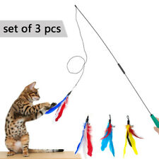 3pcs Kitten Cat Teaser Interactive Toy Dangler Rod Wand Bird Feather Funny Toys