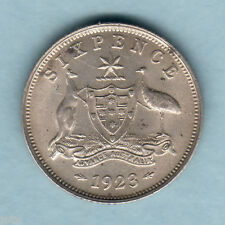 Australia.  1923 Sixpence..  Much Lustre..  SCARCE This Grade - aU-UNC