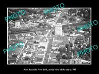 OLD LARGE HISTORIC PHOTO OF NEW ROCHELLE NEW YORK AERIAL VIEW OF CITY c1945 1