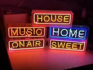 Neon Sign Light Acrylic Box Desk Table Lamp Party Decor Handmade Real Glass Tube