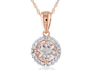 Morganite and Diamond Pendant Necklace 9/10 Carat (ctw) in 10K Rose Gold with ch
