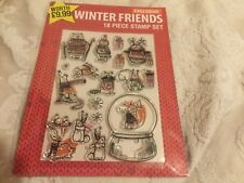 WINTER FRIENDS CHRISTMAS ANIMAL 18 PIECE  RUBBER STAMP SET CARDMAKING , FOX NEW
