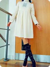 EMU Paris maternity diamond ruffle skater dress ALine plunge High Neck crinkle M