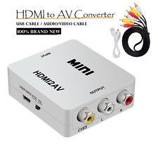 Mini HDMI To RCA 1080P Audio Video AV CVBS Adapter Converter + Audio Video Cable