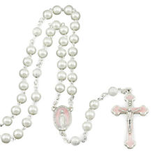 Rosary with Pink Miraculous Cross and Center