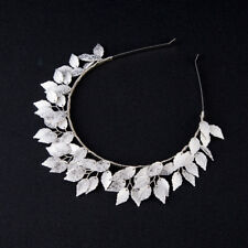 SILVER wedding BRIDAL flower LEAF CROWN fascinator HAT tiara luxe HEADPIECE halo