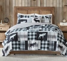 MOOSE CABIN Full / Queen QUILT SET : BLACK GRAY BUFFALO CHECK LODGE WHITE PLAID
